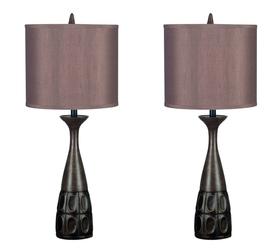 Kenroy Home 21072 Pack of 2 Jules 1 Light Lamp Set Mahogany Bronze