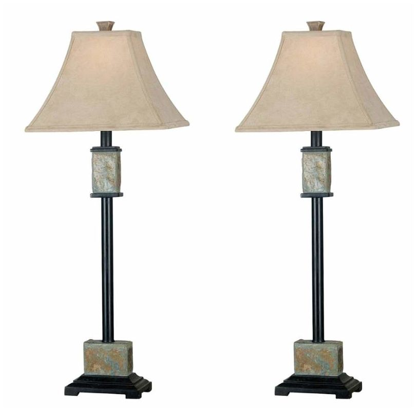 Kenroy Home 31201 Pack of 2 Bennington 1 Light Lamp Set Natural Slate