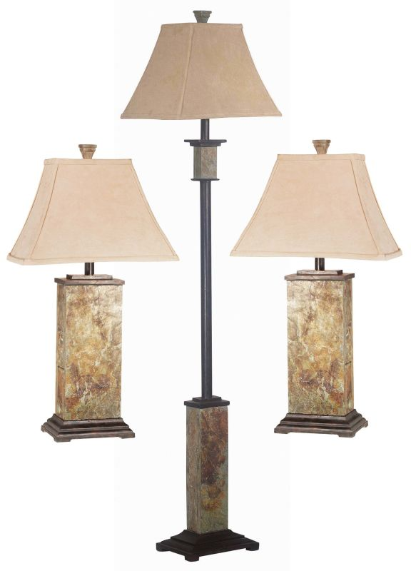 Kenroy Home 31207 Pack of 3 Bennington 1 Light Floor Lamp and 2 Table