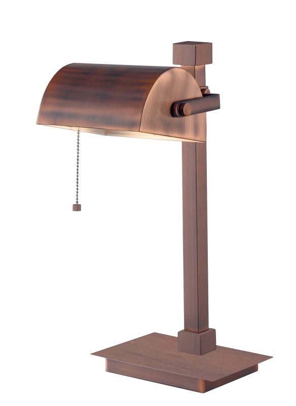 Kenroy Home 32008 Welker Desk Lamp 1 Light Bankers Lamp Vintage Copper