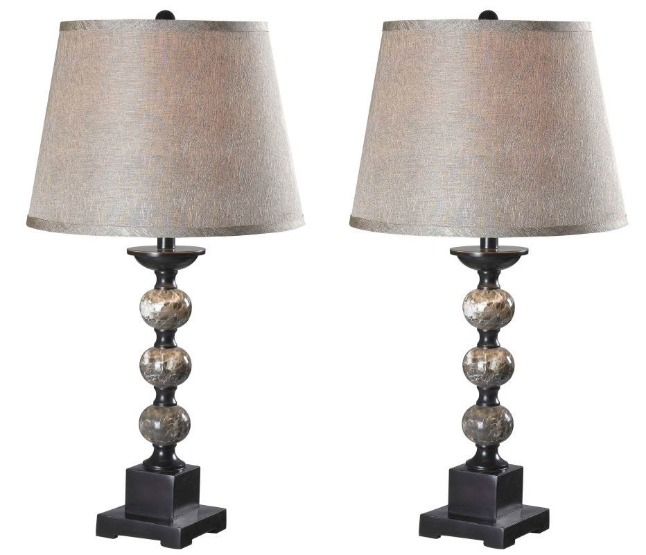 Kenroy Home 32049 Pack of 2 Mason 1 Light Lamp Set Oil Rubbed Bronze