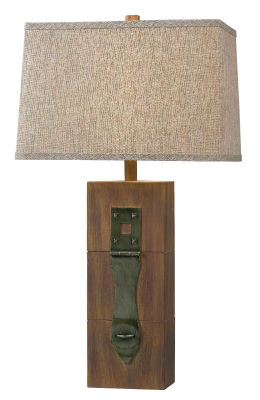 Kenroy Home 32091 Locke 1 Light Table Lamp Dark Wood Grain Lamps
