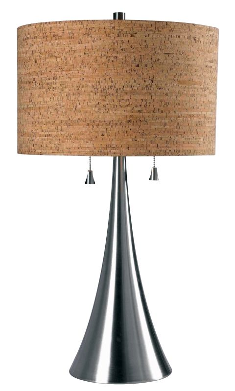 Kenroy Home 32092 Bulletin 2 Light Table Lamp Brushed Steel Lamps