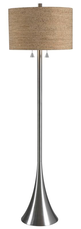 Kenroy Home 32093 Bulletin 2 Light Floor Lamp Brushed Steel Lamps