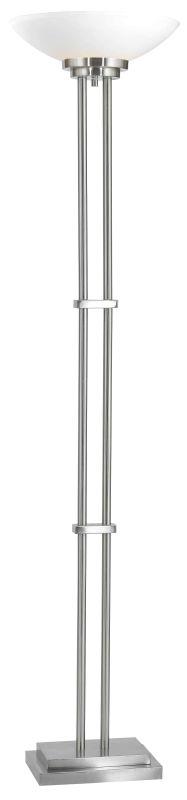 Kenroy Home 32122 Halstead 1 Light Torchiere Floor Lamp Brushed Steel