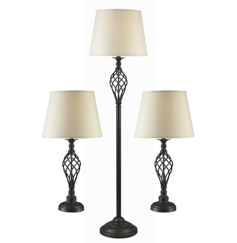 Kenroy Home 32190 Pack of 3 Avett 1 Light Floor Lamp and 2 Table Lamps