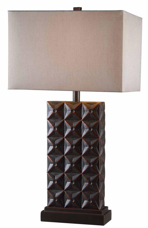 Kenroy Home 32211 Cross Hatch 1 Light Table Lamp Bronze Lamps