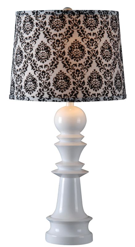 Kenroy Home 32222 Gambit 1 Light Table Lamp Gloss White Lamps