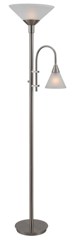 Kenroy Home 32234 Brady 1 Light Torchiere Floor Lamp Brushed Steel