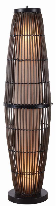 Kenroy Home 32248 Biscayne 2 Light Outdoor Floor Lamp Rattan / Bronze