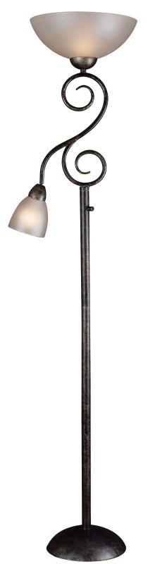 Kenroy Home 32259 Treble 2 Light Torchiere Floor Lamp Smoke Bronze