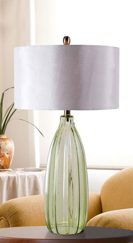 Kenroy Home 32319GRN Elaine 1 Light Table Lamp Green Glass Lamps