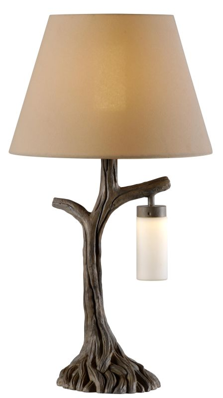 Kenroy Home 32625 Banyan 2 Light Table Lamp with Cream Shade Driftwood