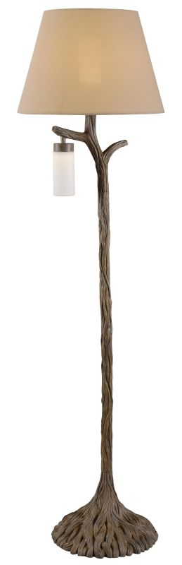 Kenroy Home 32626 Banyan 2 Light Floor Lamp with Cream Shade Driftwood