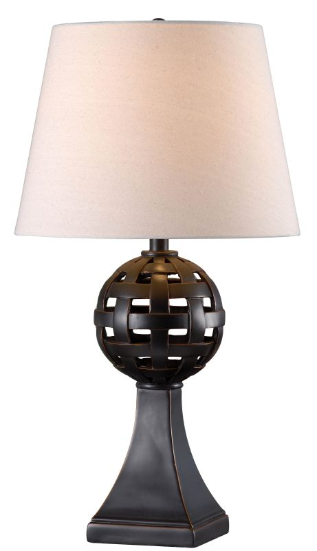 "Kenroy Home 32680 Global 1 Light 28"" Tall Table Lamp with Cream Fabric"
