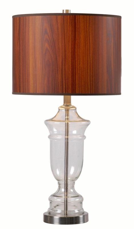 Kenroy Home 32730 Bray 1 Light Table Lamp with Brown Shade Clear Glass
