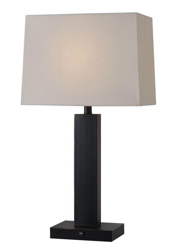 Kenroy Home 32758 Innkeeper 1 Light Table Lamp with Cream Shade Oil