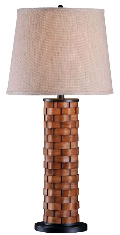 Kenroy Home 37014 Shaker 1 Light Table Lamp Dark Woven Wood Lamps Sale $135.00 ITEM: bci2119035 ID#:37014DWW UPC: 53392030896 :