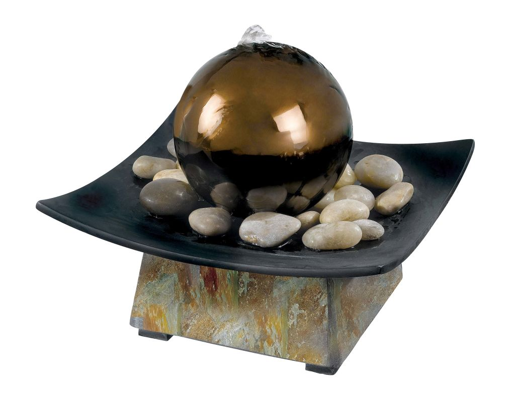 "Kenroy Home 50235 Sphere 8"" High Table Fountain Natural Green Slate /"