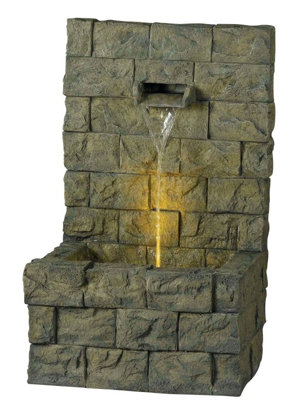 "Kenroy Home 51001 Garden Wall 22"" High Outdoor LED Floor Fountain"