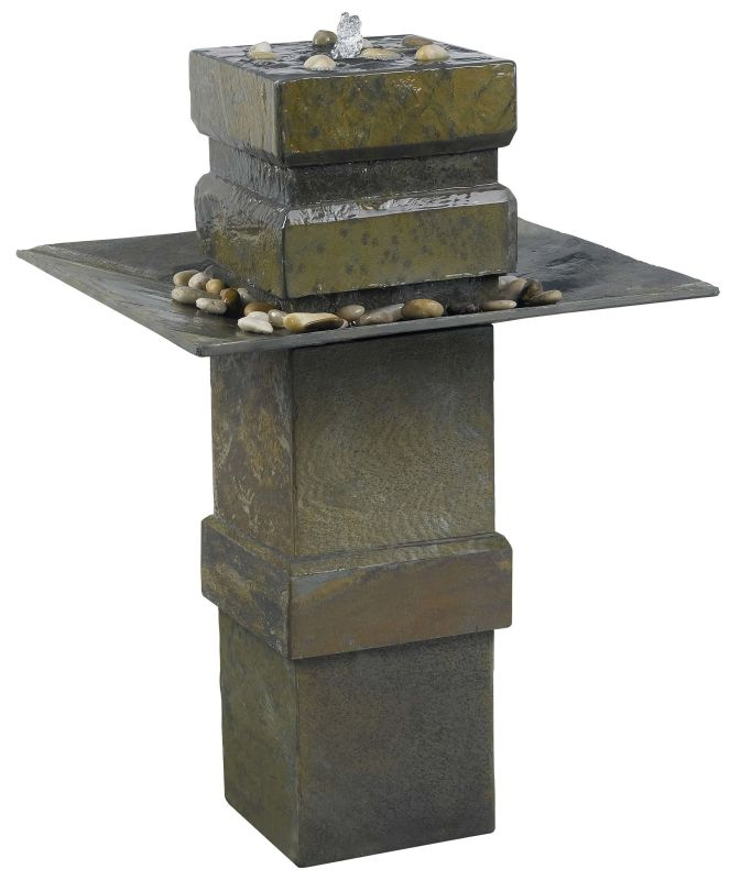 "Kenroy Home 53210 Cubist 33"" High Outdoor Floor Fountain Natural Slate"