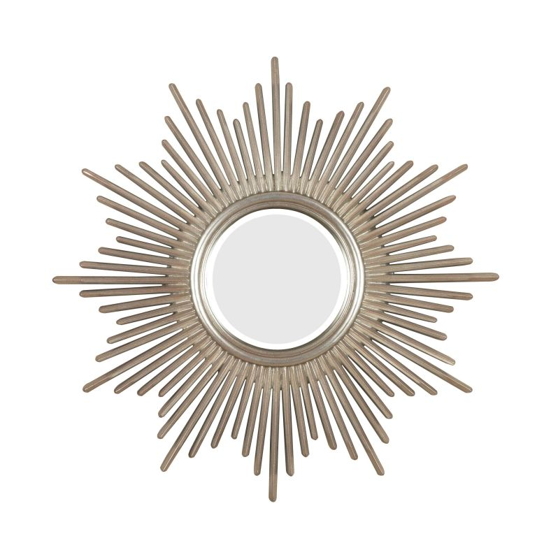 Kenroy Home 60008 Reyes Beveled Round Mirror Antique Silver Home Decor