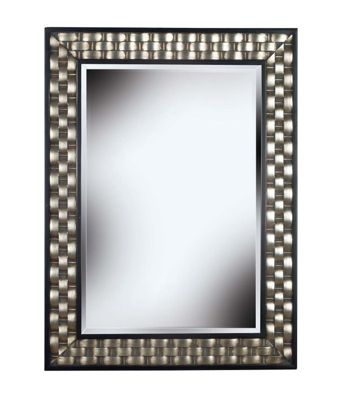 Kenroy Home 60013 Checker Beveled Square Mirror Brushed Silver with