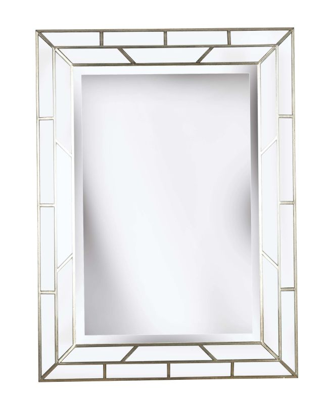 Kenroy Home 60015 Lens Beveled Rectangular Mirror Silver Home Decor