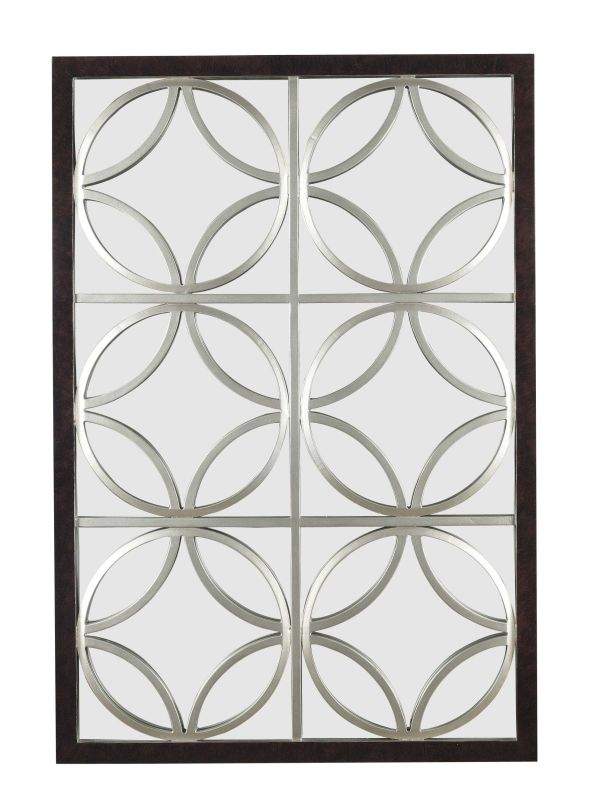 Kenroy Home 60016 Gable Rectangular Mirror Walnut with Silver Trellis
