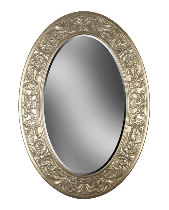 Kenroy Home 60026 Argento Beveled Oval Mirror Antique Silver Home