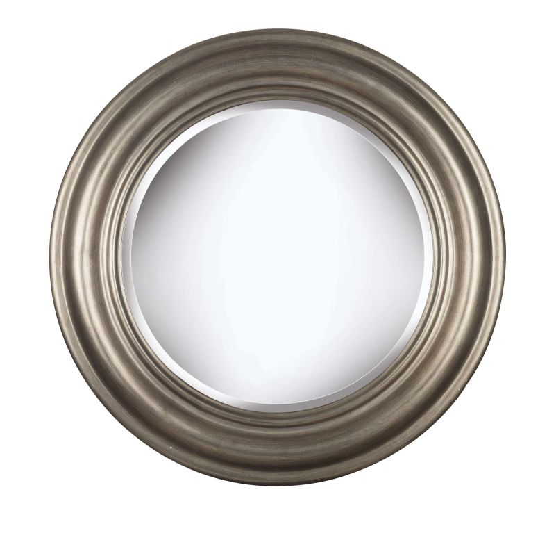 Kenroy Home 60027 Nob Hill Beveled Round Mirror Antique Silver Home