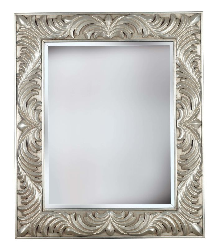 Kenroy Home 60030 Antoinette Beveled Square Mirror Antique Silver Home