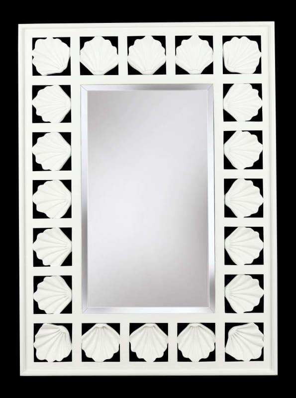 Kenroy Home 60043 Seabreeze Beveled Rectangular Mirror Antique White