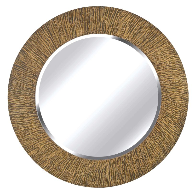Kenroy Home 60094 Burl Beveled Round Mirror Striated Black and Tan
