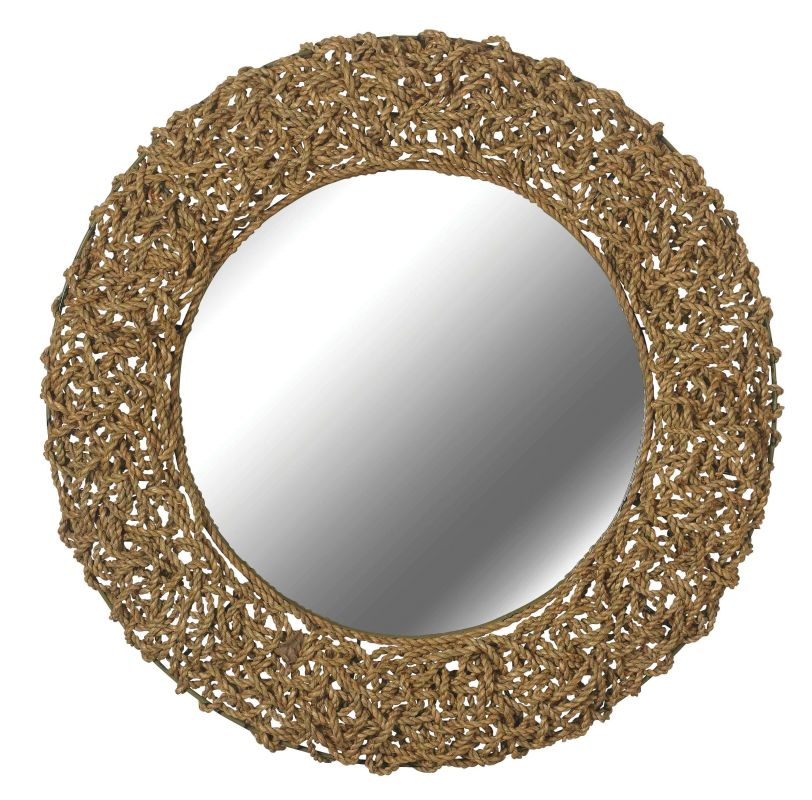 Kenroy Home 60203 Seagrass Round Mirror Natural Material Home Decor