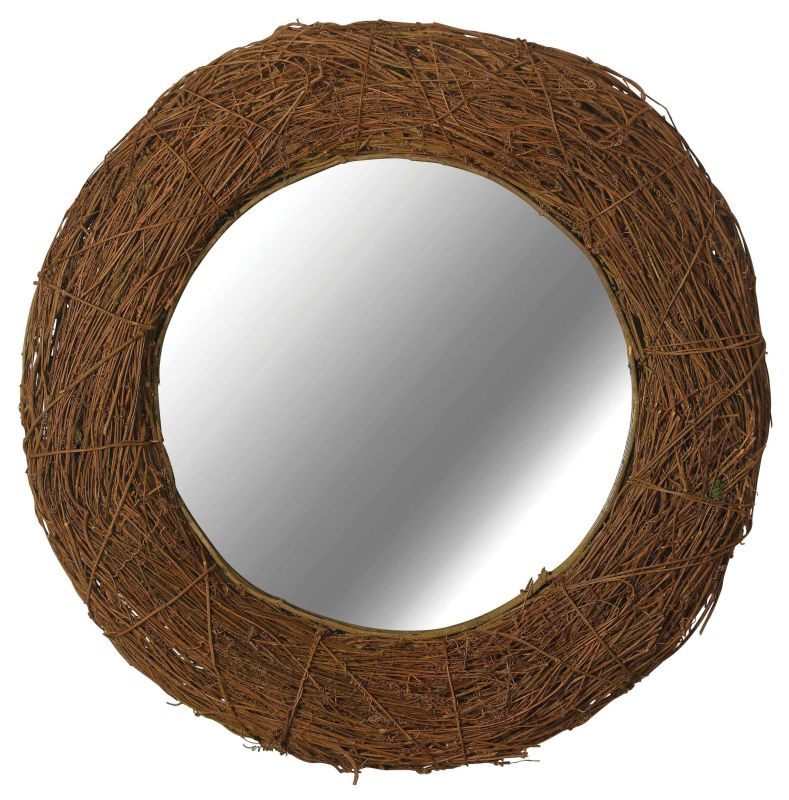 Kenroy Home 60204 Harvest Round Mirror Natural Rattan Home Decor