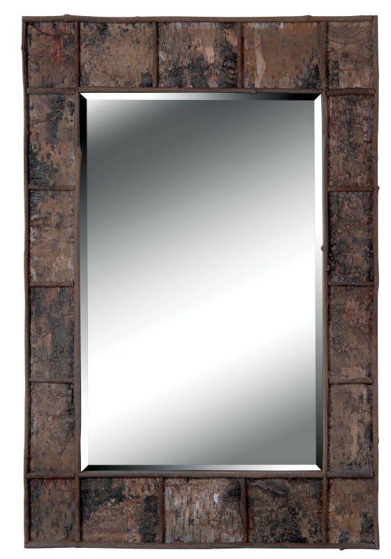 Kenroy Home 61002 Birch Beveled Rectangular Mirror Birch Bark Home
