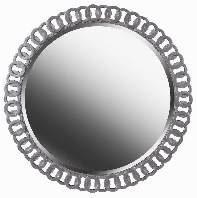 Kenroy Home 61015 Geo Beveled Round Mirror Bright Silver Home Decor