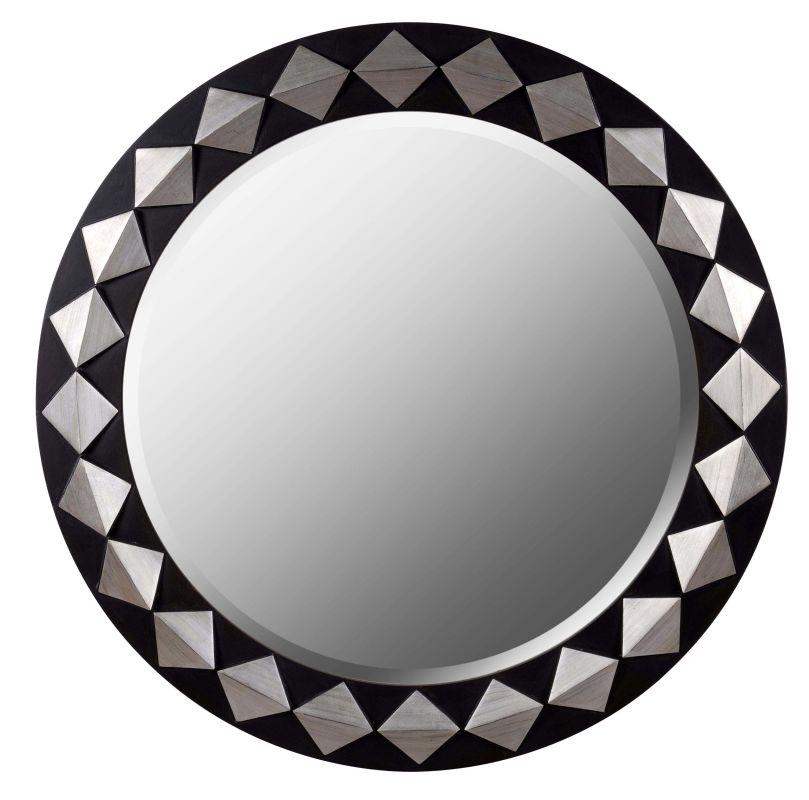 Kenroy Home 61017 Rhombus Beveled Round Mirror Espresso with Silver