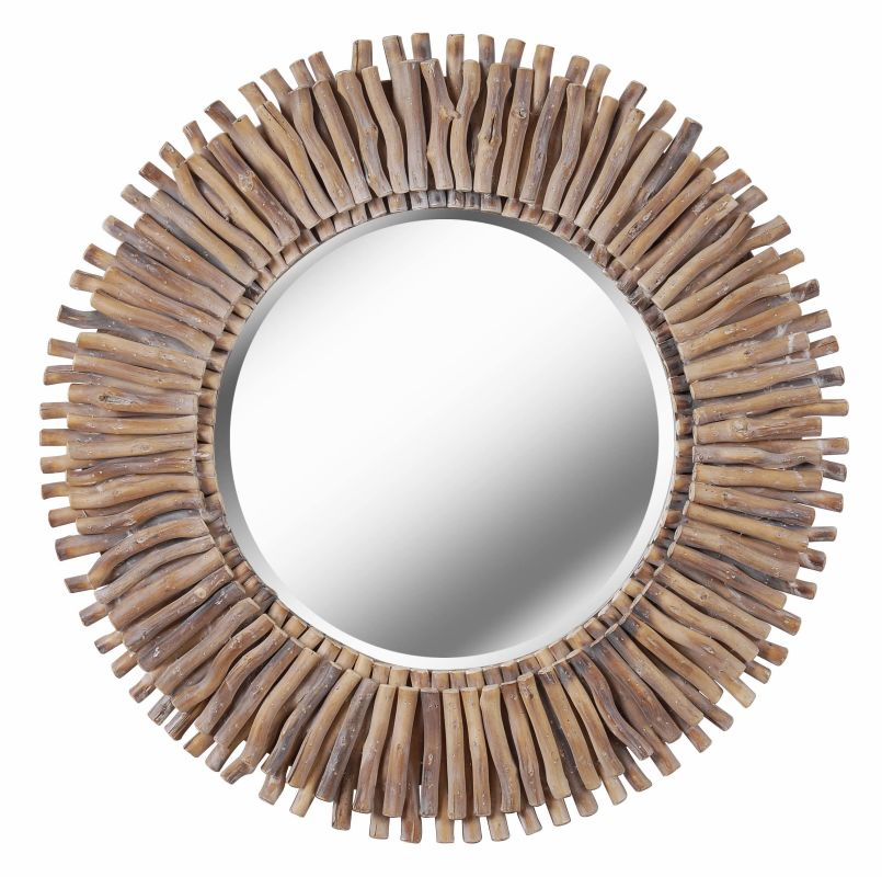 Kenroy Home 61019 Piper Beveled Mirror with Natural Wood Finished