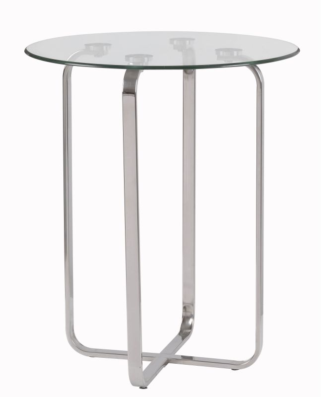 "Kenroy Home 65019 Arpeggio 24"" Tall Accent Table with Clear Tempered"