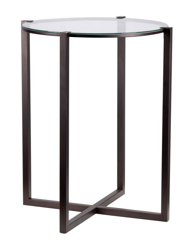 "Kenroy Home 65023 Lodin 24"" Tall Accent Table with Clear Tempered"