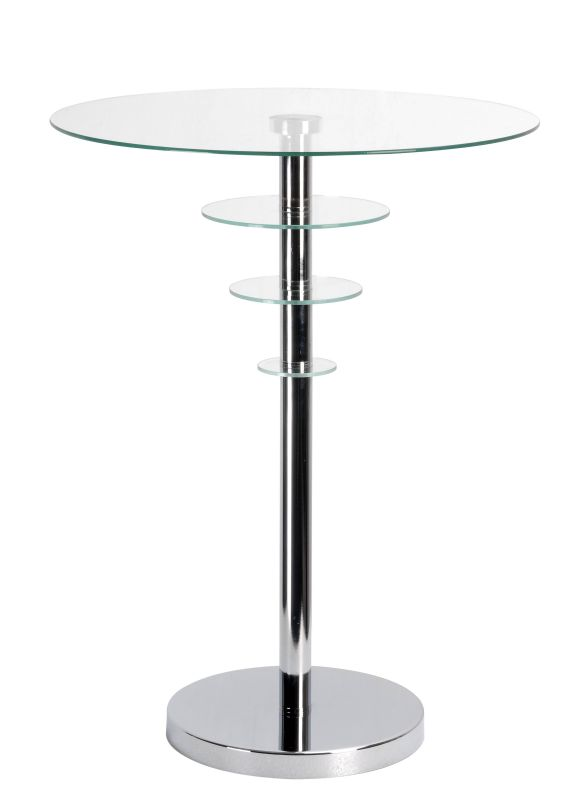 "Kenroy Home 65028 Astro 24"" Tall Accent Table with Clear Tempered"