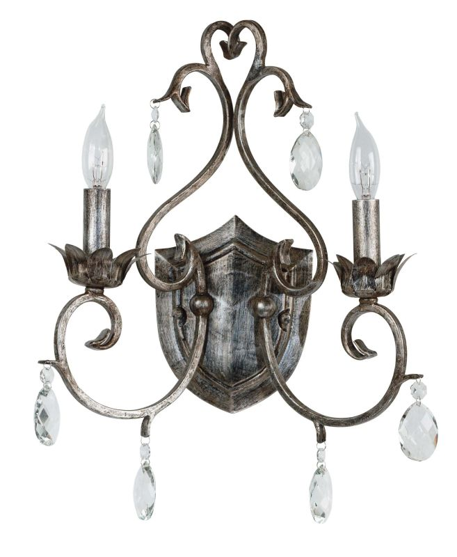 Kenroy Home 91342 Antoinette 2 Light Candle-Style Sconce Weathered
