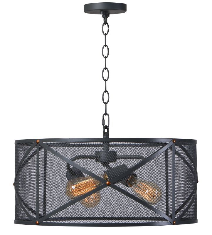 """Kenroy Home 92082 Alfred 3 Light 20"""" Wide Drum Style Chandelier with"""