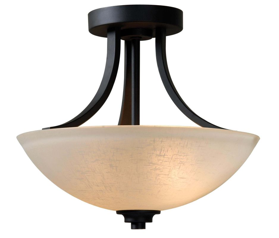 Kenroy Home 93197 Silk 2 Light Semi-Flush Ceiling Fixture Burnished