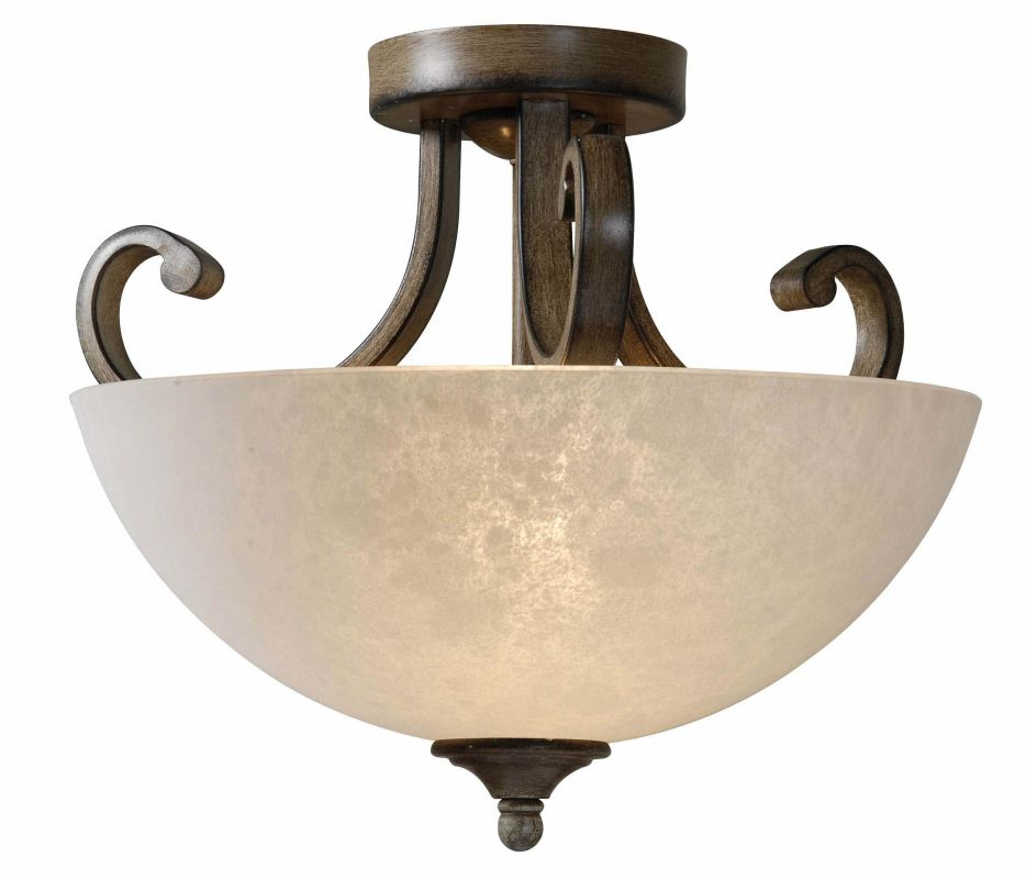 Kenroy Home 93217 Fields 2 Light Semi-Flush Ceiling Fixture Aruba Teak