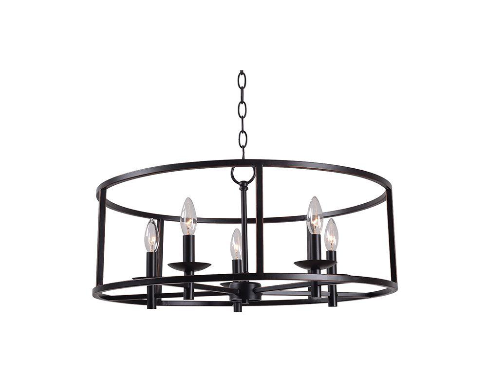 Kenroy Home 93265 Arlen 5 Light Chandelier Oil Rubbed Bronze Indoor