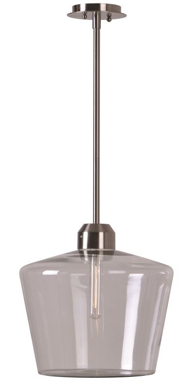 Kenroy Home 93561 Abra 1 Light Pendant with Glass Shade Brushed Steel