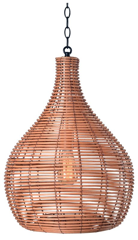 "Kenroy Home 93677 Hughes Single Light 16"" Wide Pendant with Rattan"